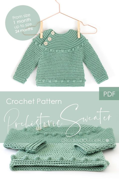 PDF Crochet Pattern to make this beautiful and practical Crochet Sweater or Bodice. In this pattern you will find the directions to make the crochet bodice for a dress as well as the instructions to turn it into a beautiful sweater. Sizes 1-3 months, 3-6 months, 6-12 months, 12-24 months and 24-36 months.