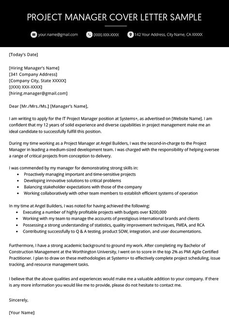 Project Manager Cover Letter Example In 2020 Cover Letter For