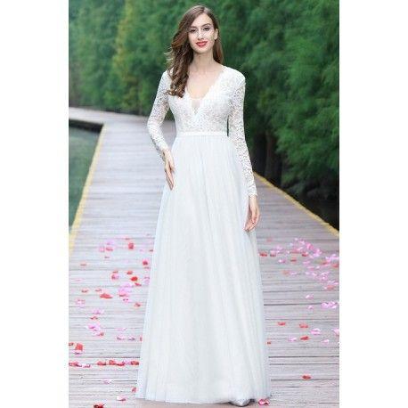 Svatební nové jednoduché nádherné tylové bílé šaty s dlouhým krajkovým  rukávem 5744bd58c4
