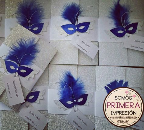 Temática Mascarada Antifaz Tarjeta De Invitación Para 15