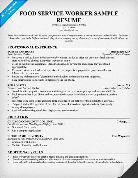 Food Service Worker Resume Chronological Resumethis Is A Fairly Standard Layout For A