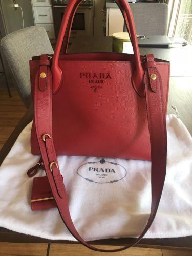 1e0d2d2b Prada Large Monochrome Red Tote ity Guaranteed | Prada | Prada, Bags ...