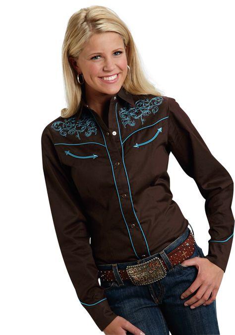 3453dac8f49465 Roper Old West Ladies Brown 100% Cotton Baroque L/S Western Shirt ...