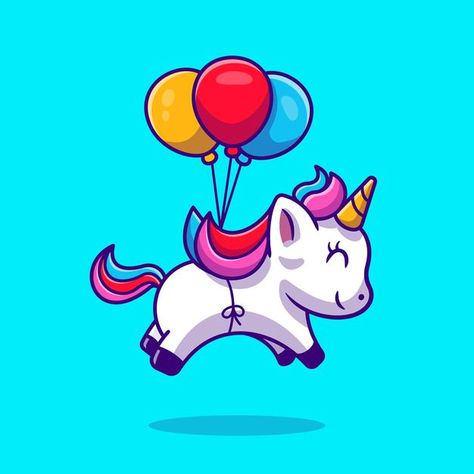 Download Cute Unicorn Floating With Balloon Cartoon Vector Icon Illustration. Animal Love Icon Concept. Flat Cartoon Style for free