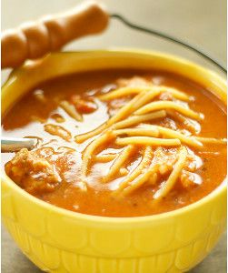Convert the wholesome flavors of spaghetti and meatballs into a wholesome soup with this recipe for Slow Cooker Spaghetti and Meatball Soup.