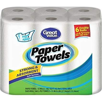 Great Value Double Rolls Sized 4 Spills White 2 Ply Paper Towels 168 Sheets Pack Of 6 Review Paper Towel Towel Paper