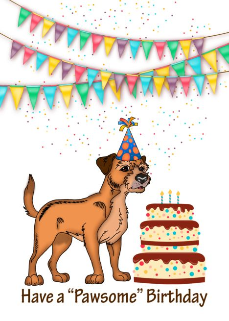 Border Terrier Dog With Birthday Cake And Bunting Card Ad Sponsored Dog Terrier Border Birthday Border Terrier Terrier Dogs Terrier