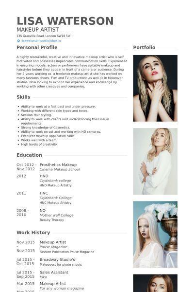 Makeup Artist Resume Example Makeup Artist Resume Makeup Artist Portfolio Makeup Artist Tips