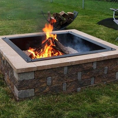 36 Wood Burning Fire Pit Ring Square Sunnydaze Decor Fire Pit Accessories In Ground Fire Pit Square Fire Pit