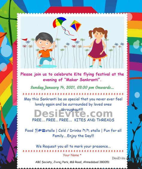 Kite Festival Eve Of Sankrant Invitation Ecard