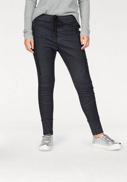 Schlupfhose Future Pants Dekorative Reissverschlusse Hosen Denim Look Damen