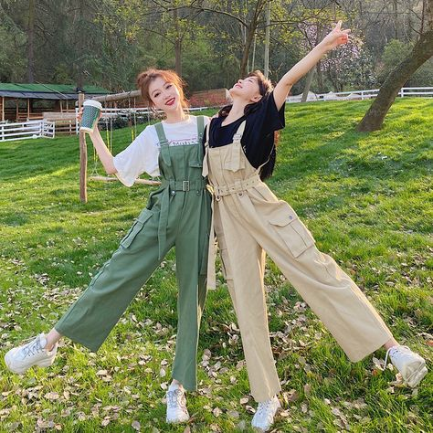 Women's Overalls Korean Style Loose Students High Waist Nine Points Tooling Wide Leg Pants Thin