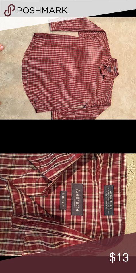 Men's Shirt Very nice rust plaid long-sleeved shirt. Van Heusen Shirts Dress Shirts