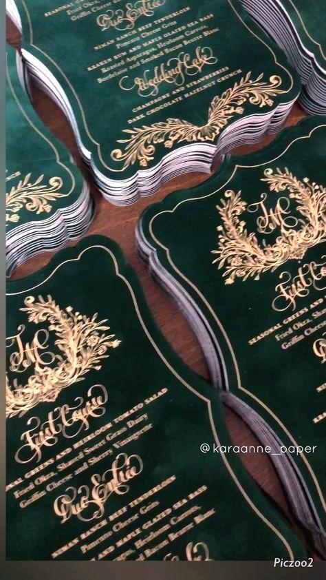 Velvet Wedding Menus Custom menus by Kara Anne Paper Green Wedding Invitations, Wedding Menu, Wedding Invitation Cards, Wedding Themes, Wedding Stationery, Wedding Cards, Wedding Planning, Dream Wedding, Wedding Decorations