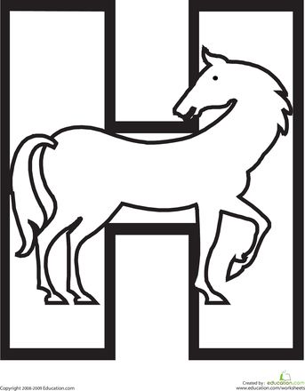 Color the Horse Letter H