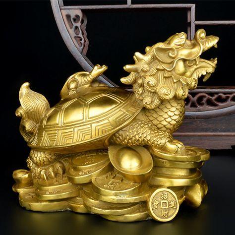 JADE Feng Shui Dragon Turtle Tortoise Statue Figurine Coin Money Wealth