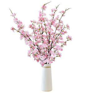 4pcs Artificial Cherry Blossom Flowers Branches Silk Tall Fake Flower Decor Ebay Fake Flowers Decor Fake Flowers Flower Arrangements