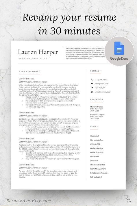 Simple google docs resume, professional teacher resume template mac, digital download cv design and