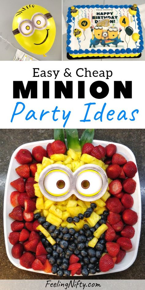 DIY Minion party ideas for a birthday party. Fruit platter minion food idea, DIY minion balloon decorations, edible paper Minion cake design and DIY minion poster. Perfect for any birthday girl or boy whose a Minion fan or Despicable Me fan! Diy Birthday Cake, Birthday Cakes For Teens, Diy Birthday Decorations, Cakes For Boys, Balloon Decorations, Parties Decorations, Fruit Birthday, Minion Party Decorations, Birthday Design