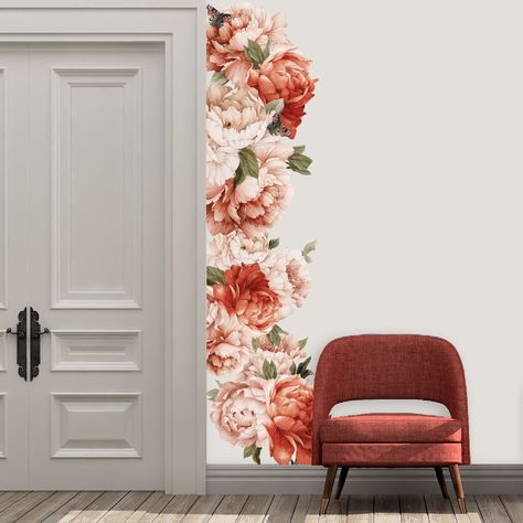 Peonies Wall Decals Vintage Floral Wallpaper Stickers | Coral