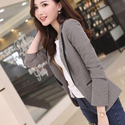 03b5f7e36c4 Cheap Blazers  2018 Spring Autumn New Short Plaid Small Women Slim Leisure Long  Sleeve Suit Fashion Casual Printing Polyester Plaid