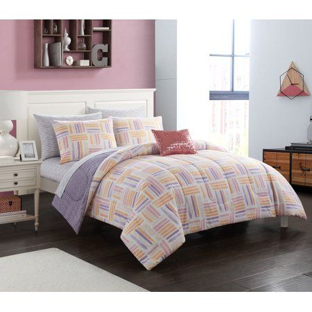 Your Zone Twin Laila Watercolor Bed In A Bag Bedding Set 5 Piece Walmart Com In 2019 Watercolor Bedding Bed In A Bag Bed
