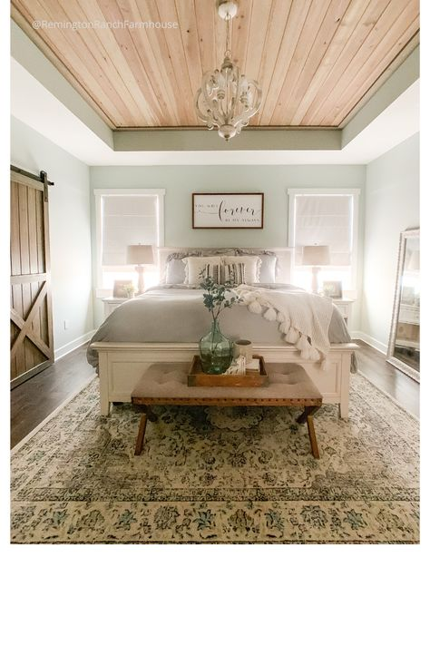 Rustic Master Bedroom Rustic Farmhouse Master Bedroom – a budget friendly affordable dreamy bedroom Farmhouse Master Bedroom, Cozy Bedroom, Dream Bedroom, Home Decor Bedroom, Bedroom Rustic, Master Bedroom Furniture Ideas, Bedroom Modern, Master Bedrooms, Master Bedroom Wood Wall