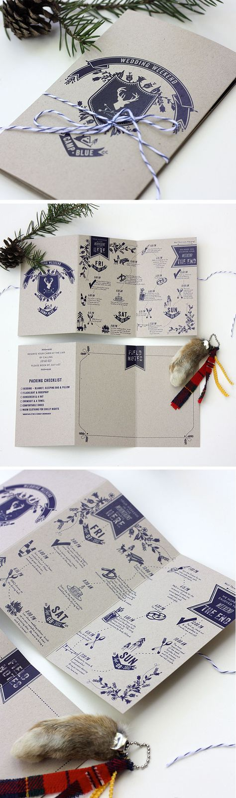 Camp-themed wedding weekend tri-fold by Paisley Quill