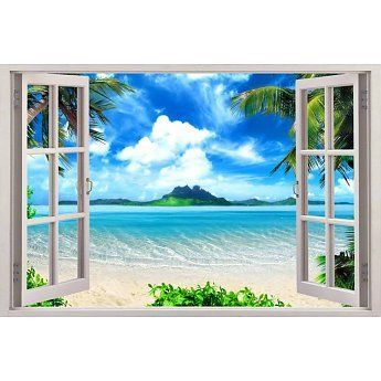 Tree wall decals Beach trees Top quality 3d window wall sticker removable W78
