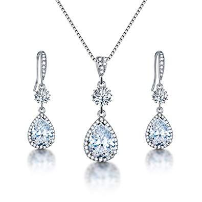 Crystal Diamante Jewellery Set Wedding Bridal Bride Necklace Earrings Party Prom