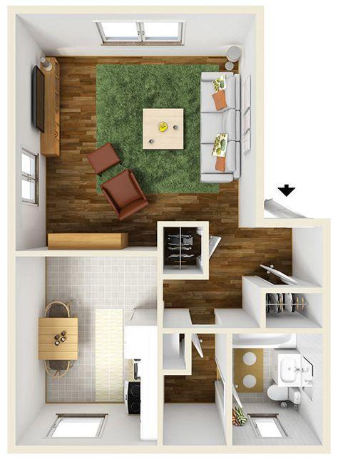 600 square foot Studio Apartment Floor Plan Furnished