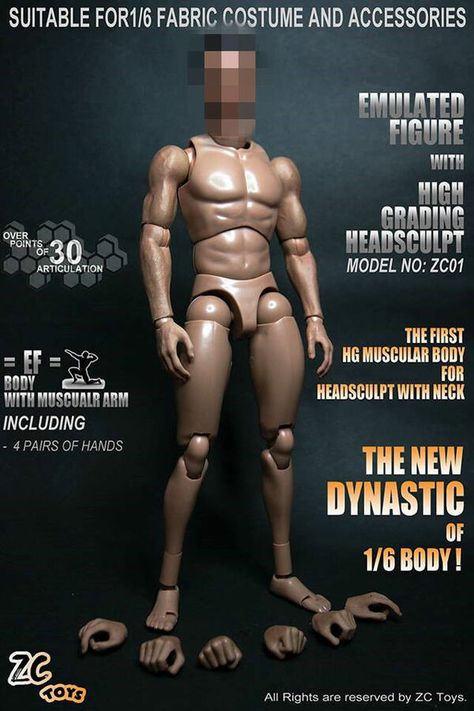 1//6 Scale ZC Toys Muscular Body Figure Wide Shoulder For 12/'/' Figure Action Gift