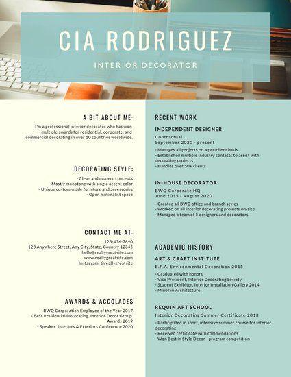 Turquoise Photo Interior Designer Resume Resume Design Interior Design Resume Resume Template Professional