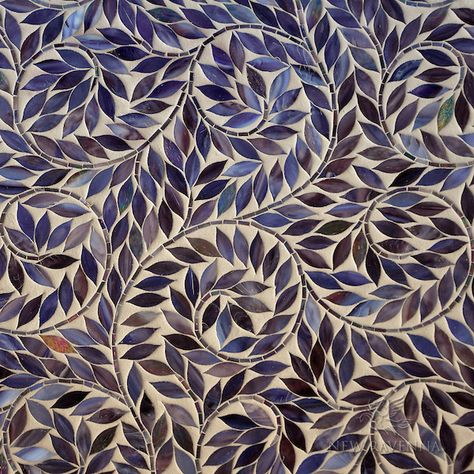 Mirabellicious ♥: The Tile Files: Mosaics. 'Jacqueline Vine', a jewel glass waterjet mosaic shown in 'Amethyst', part of the Silk Road Collection by Sara Baldwin for New Ravenna Mosaics.