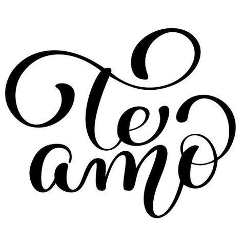 Te amo te amo texto en español caligrafía vector letras para tarjeta de San Valentín. Ilustración de pincel, cita romántica para tarjetas de felicitación de diseño, tatuaje, invitaciones de vacaciones