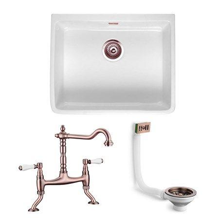Butler U0026 Rose Large Belfast Sink With Alba Antique Copper Kitchen Tap,  Waste U0026 Overflow Cover Set