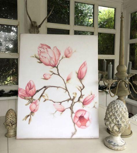 XL Bild Gemälde Magnolien Zweig creme Shabby Chic Thomas Rolly Kunst Landhaus