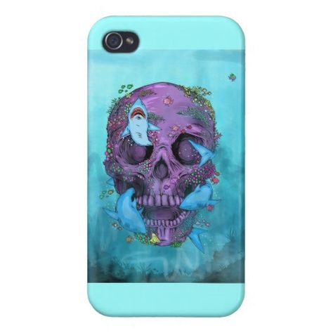 Vintage skull with sharks iPhone 4/4S case