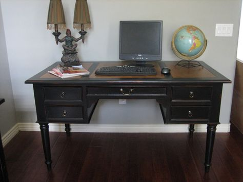 ~ $$$ SOLD $$$ ~ Large wood executive desk. Perfect for home or office use. Smooth black finish with rub through distress. Raised panels. Le...