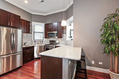 832 W Roscoe St 3 Chicago Il 60657 2 Beds 2 Baths Grey Kitchen Walls Cherry Cabinets Kitchen Cherry Cabinets Kitchen Wall Color