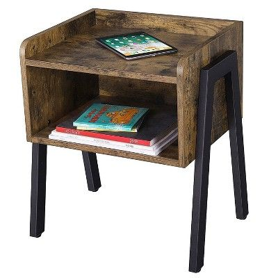Wooden Stackable End Table With Inverted Iron Legs Brown And Black