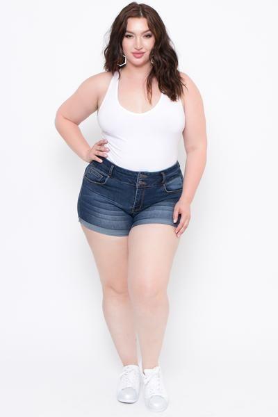 7c7b816a88f92 Plus Size Double Button High Waist Jean Shorts - Dark Wash - Curvy Sense