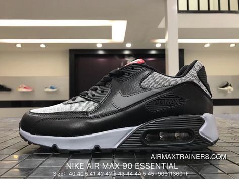 17e86c6a249 Nike Air Max 90 Essential 537384-065 Mens Retro Running Shoes Black Grey  Woven New Year Deals