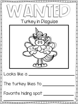 Turkeys In Disguise Writing Pages By My Day In K Tpt Turkey Disguise Writing Practice Writing