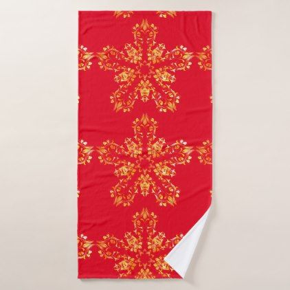 Custom Red And Gold Elegant Floral Bath Towel Set Zazzle Com
