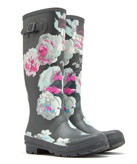 Joules Black and White Flowers Tall Rain Boots | Botas, Looks