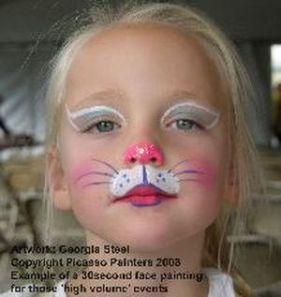 şirin Kedi Yüz Boyama Disfraces Kitty Face Paint Easter Face