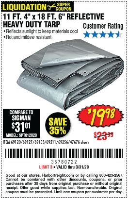 Hft Heavy Duty Weather Resistant Tarp For 19 98 In 2020 Harbor Freight Tools Weather Resistant Tarps