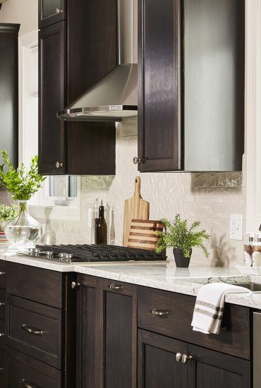 Our Work Stained Kitchen Cabinets Quartz Countertops Dark Cabinets Kitchen Remodel