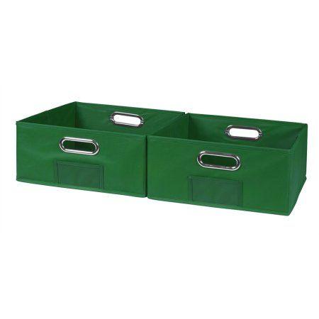 Niche Cubo Set Of 2 Half Size Foldable Fabric Storage Bins  Blue, Green